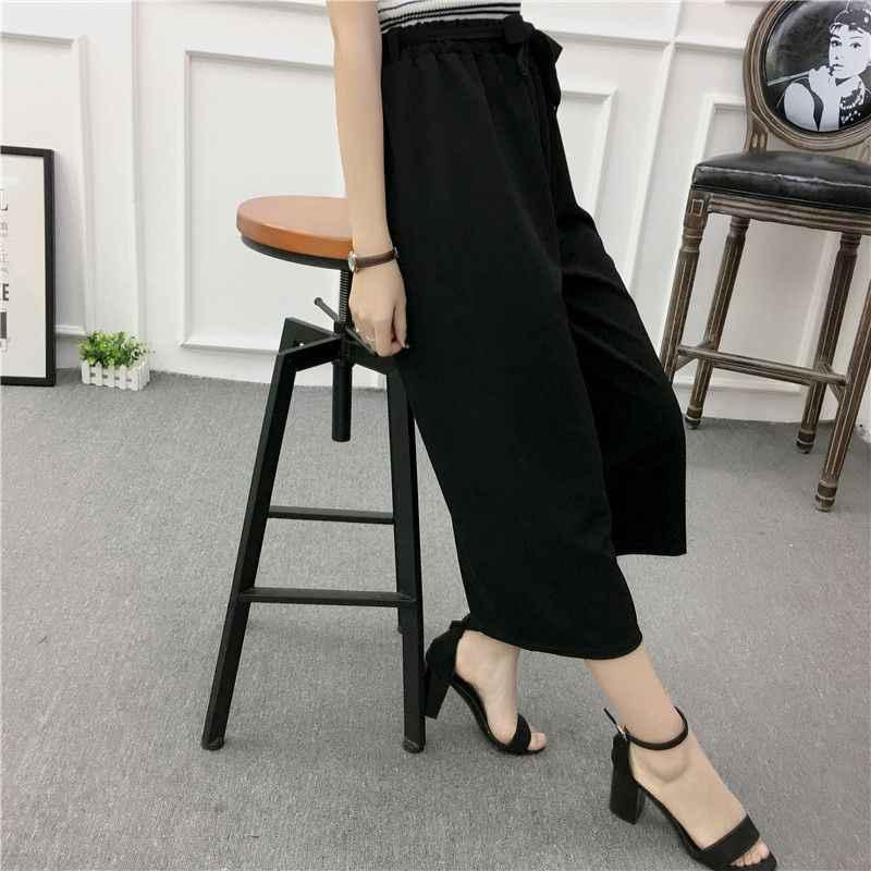 ETOSELL kadınlar yeni yaz geniş bacak pantolon rahat gevşek yüksek elastik bel Harem pantolon gevşek kemer çizgili elastik pantolon