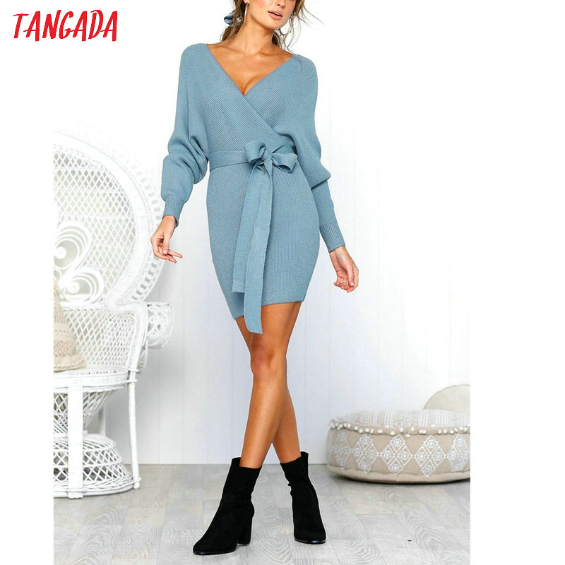 Tangada women dress 19 knitted mini dress autumn winter ladies sexy green sweater dress long sleeve vintage korean ADY08 24
