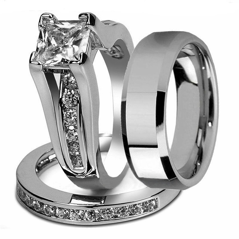 Princess Cut Cubic Zirconia Couple Rings Stainless Steel Wedding Ring Set for Women and Men drop Shipping(China)