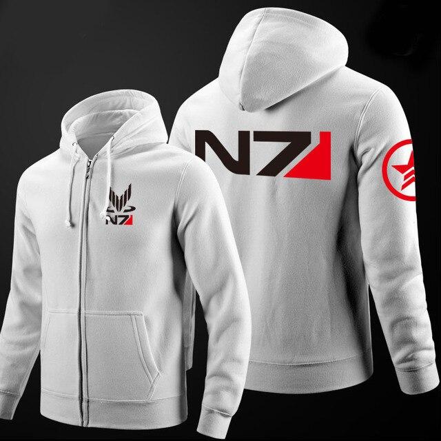 2017 New RPG Game Mass Effect 3 N7 Cotton Cosplay Hoodies Coat Cosplay Costume Jacket Men suit Short Hoody Sweatshirt men