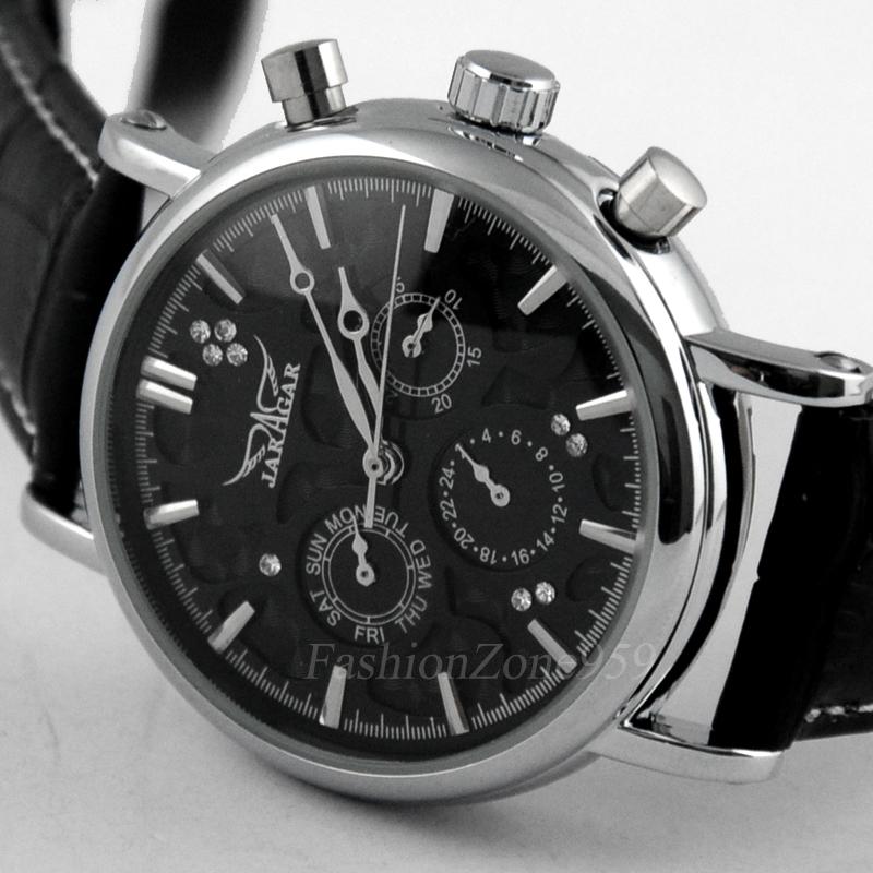 Prix pour Jaragar automatique montre multifonction hommes de luxe 6 mains mécanique bracelet en cuir montre hommes jour montre heure horloge montres hommes