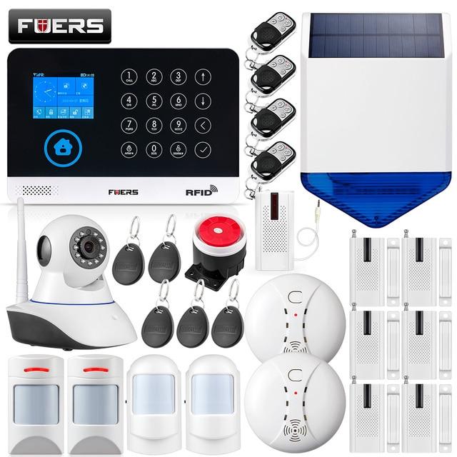 Special Price FUERS WG11 433MHz Wireless GSM&WIFI DIY Smart Home Security Alarm System Pet Infrared Motion Door Sensor Solar Siren IP Camera