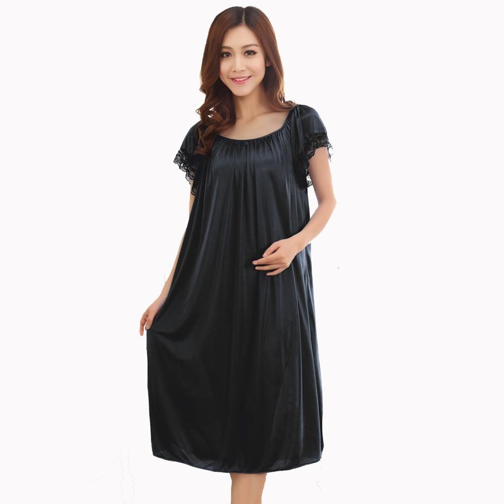 Sexy Summer New Fat MM Ice Silk Nightdress Ladies   Nightgown   Casual Home Dress Pregnant woman Sleepwear   Sleepshirt   Night Dress
