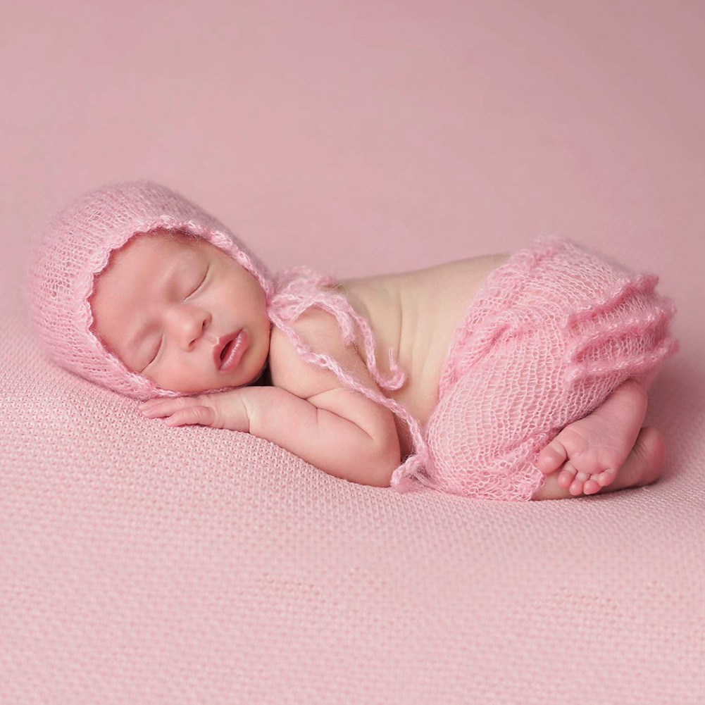 Newborn Pink Cute Crochet Knit Costume Photography Prop Outfits Photo Baby Hat Photo Props New born Baby Girls Clothing Sets free shipping new winter unisex oversized slouch cap plicate baggy beanie knit crochet hot hat y107