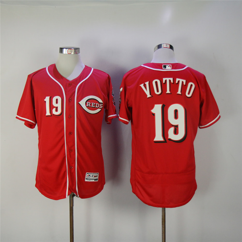 MLB Mens Cincinnati Reds Joey Votto Jersey Majestic Scarlet White Gray Flex Cool Base Player Jersey