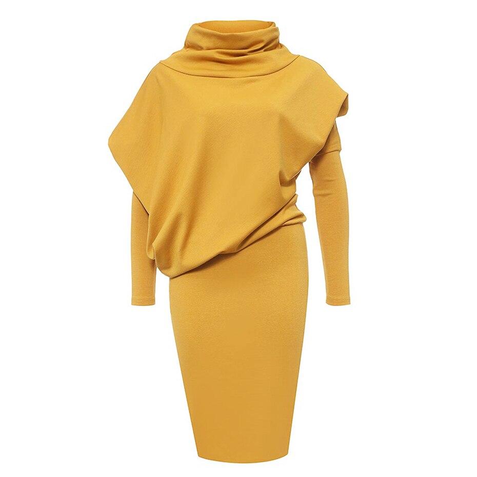 Женское сексуальное тонкое облегающее платье Элегантное однотонное желтое с длинным рукавом Водолазка пуловер платье high street Весна элегант...