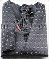 Новое прибытие бесплатная доставка черный основная и серебряный узор формальный жилет и галстук набор (жилет + ascot галстук + запонки + платок)