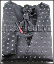 New arrival free shipping black basic and silver pattern formal vest and tie set (vest+ascot tie+cufflinks+handkerchief)