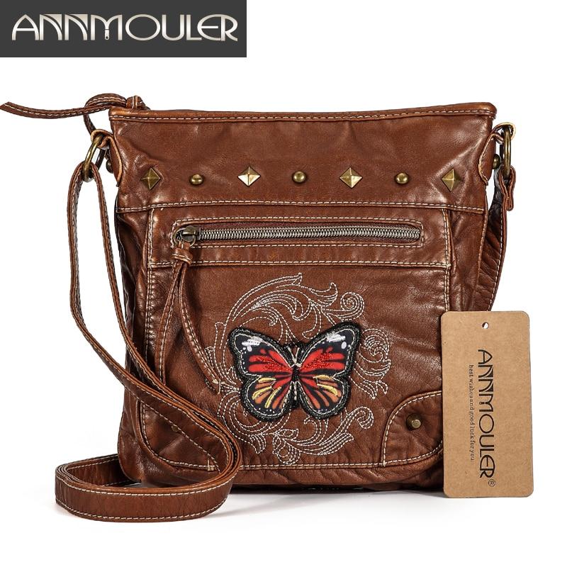 Annmouler Vintage Women Shoulder Bag 2 Colors Crossbody Bag Butterfly Embroidery Soft Messenger Bag for Ladies