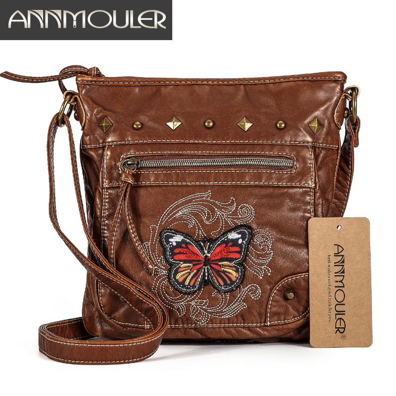 Annmouler Vintage Women Shoulder Bag 2 Colors Crossbody Bag Butterfly Embroidery Soft Messenger Bag For Ladies Pu Leather Purse