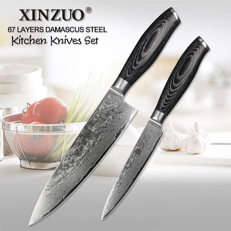 Ev ve Bahçe'ten Bıçak Setleri'de XINZUO 2 ADET Mutfak Bıçağı Seti Yüksek Karbonlu VG10 Şef Maket Bıçağı 67 Katmanlar Japon Şam Paslanmaz Çelik Pakkawood Kolu'da  Grup 1