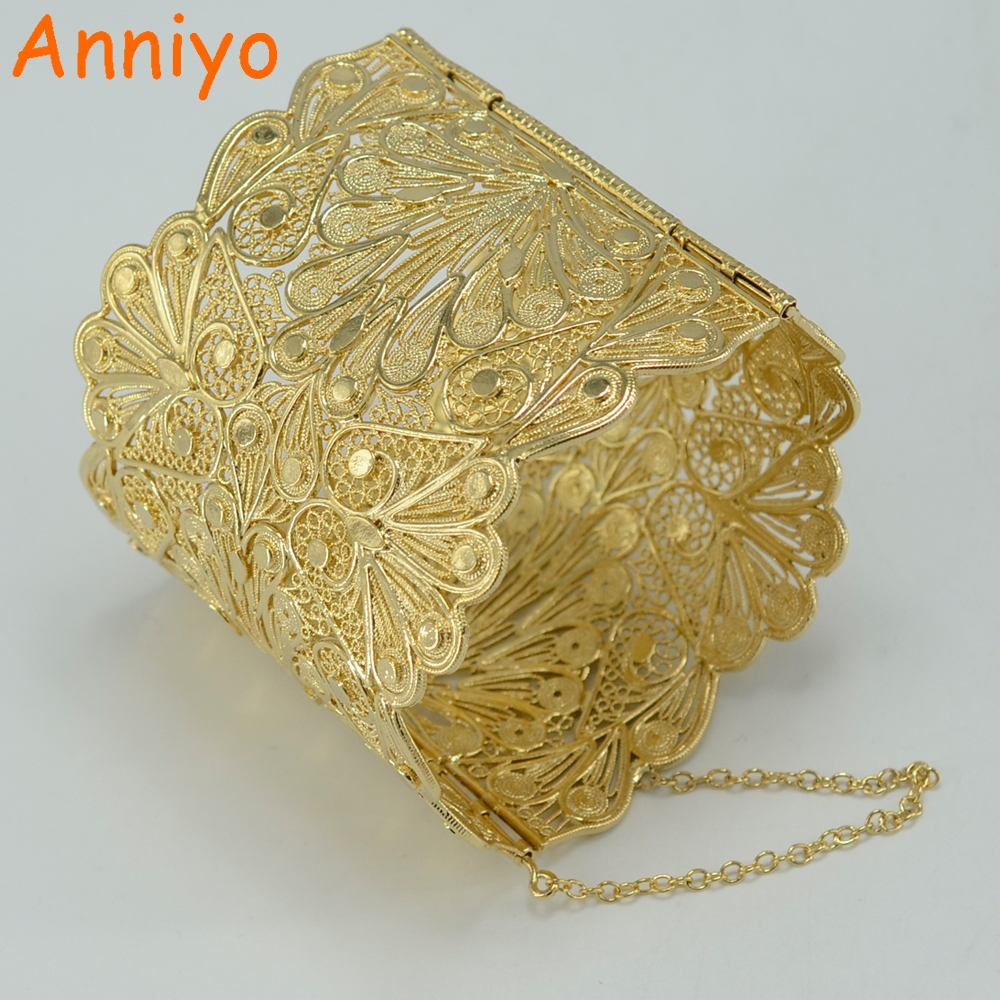Anniyo Luxury Bangle Women Gold Color Copper Big Bracelet Wedding Jewelry Arab Middle Eastern African Indian