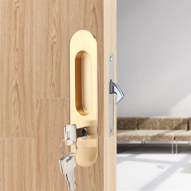 Color : Red with Key Easy Installation Silent Sliding Door Lock Hidden Handle Interior Door Zipper Modern Security Room Wooden Door Lock Furniture Hardware Stainless Steel