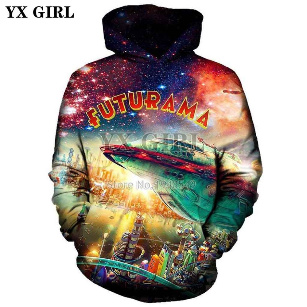 YX GIRL Drop Shipping 2018 New Style Fashion Hoodie Futurama City Creative Print 3d Men/Women Casual Hooded Sweatshirt
