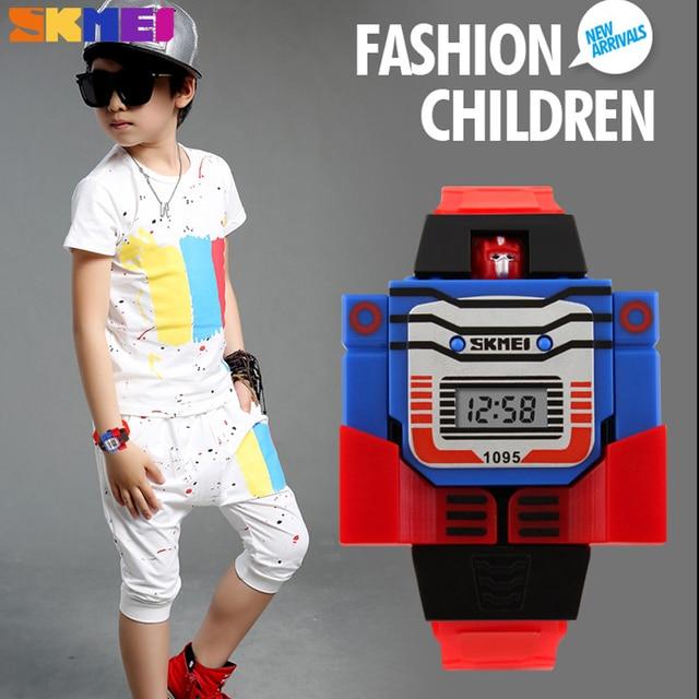 New Children Watch Creative Cartoon Robot Transformation Toys LED Digital Clock