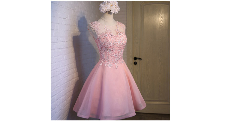 Short Evening Dress 2018 Sweet Pink O-neck Lace Ball Gown New Bride Party Formal Dress Custom Homecoming Dresses Robe De SoireeC 4