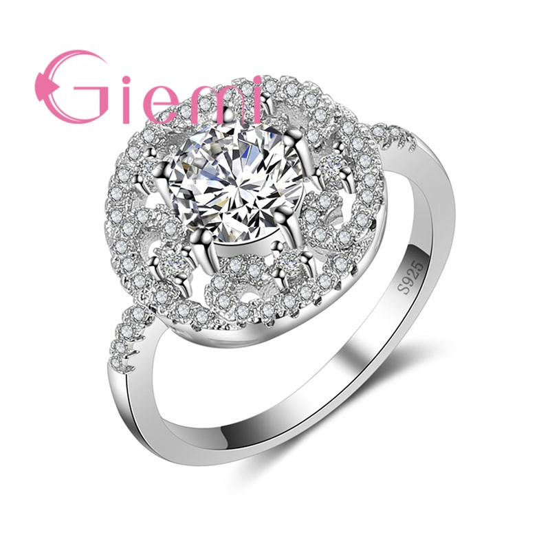 GIEMI Shiny Hot Round Crystal Stone Rings Propose Marriage Jewelry for Womens Party Shopping Gifts Sterling 925 Silver