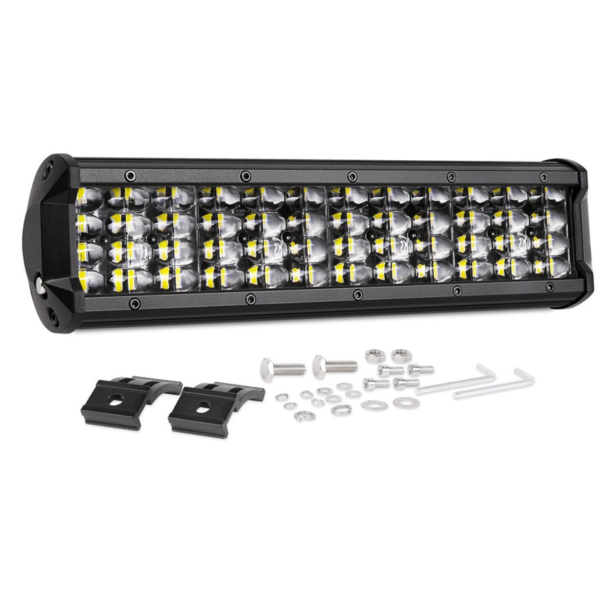 Universal 12'' 144W 14400LM Quad Row LED Pods Off Road Driving Light Bar Waterproof Flood Work Light for Truck Jeep Motorcycle auxmart triple row led chips 12 led