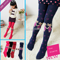 2015 Autumn and Winter Child Pantyhose With Love Dance Socks Girls 100% Cotton Socks Knitted Cotton Socks