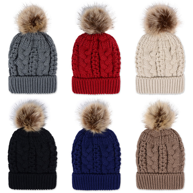 2016 Autumn and winter freeshipping super warm faxu fur Wool knitted braided beanies hat with fur pomp