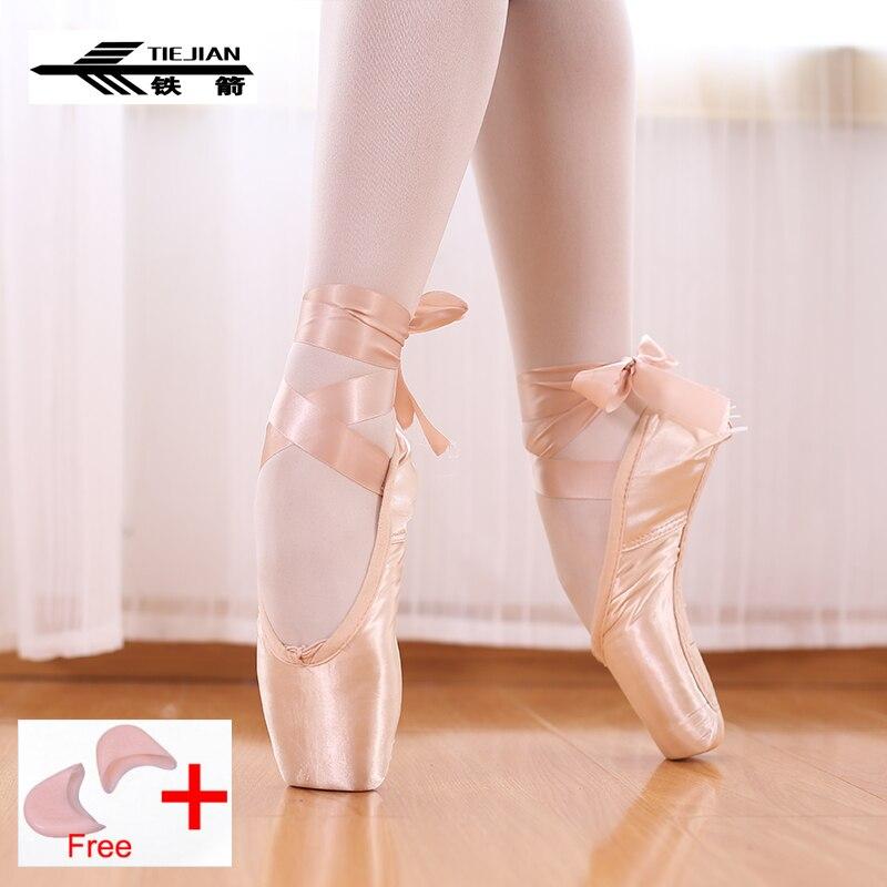 TIEJIAN Pointe zapatos venda Ballet zapatos de baile zapatos chica profesional mujer lona/De satén zapatos de baile con esponja de silicona/silicona del dedo del pie almohadillas