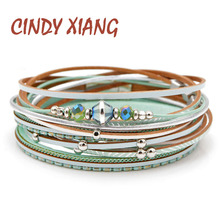 CINDY XIANG 2 Colors Choose Crystal Bead Leather Bracelets For Women Fashion Summer Design Long Twisted Cuff Bangles Good Gift