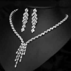 Image 2 - CWWZircons חדש הגעה מדהים טאסל Drop מעוקב Zirconia כלה שרשרת ועגילים סט לחתונה תכשיטי T073
