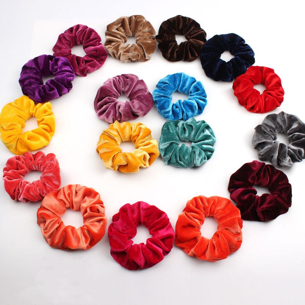 33 Colors Velvet Band Scrunchie Elastic Hair Bands Solid   Headwear   Women Hair Rope Ponytail Hair Accessories For Girls