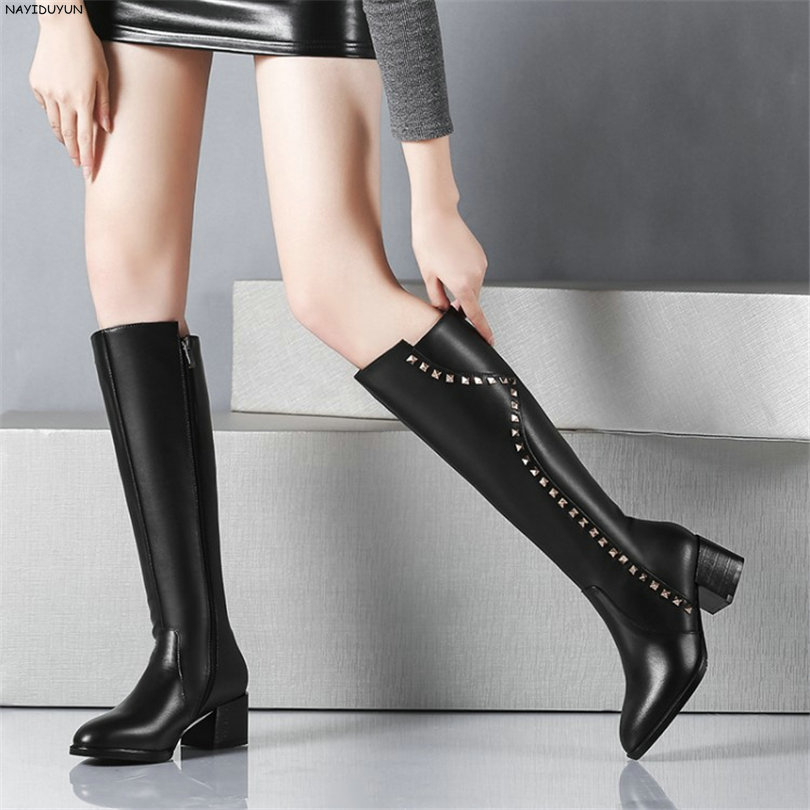 NAYIDUYUN    Fashion Thigh High Boots Women Black Full Cow Leather Point Toe Knee High Boots High Heel Party Pumps Casual Shoes nayiduyun new fashion thigh high boots women genuine leather round toe knee high boots high heel party pumps casual shoes