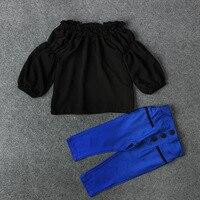 Children Girl Clothing Sets Spring Autumn Chiffon Girls T Shirt Trousers Clothing Set For Girls