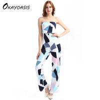 OKAYOASIS Free Shipping Elegant Off Shoulder Rompers Womens Strapless Summer Jumpsuit Sexy Ladies Casual Long Trousers Overalls