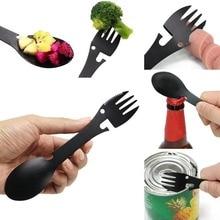 Multi Function Bottle Can Opener Knife Fork Spoon Picnic Gadget Utensil 5 in1 Stainless Steel Spork