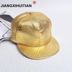 2017 Hạt Cá Sấu Mới Tide thương hiệu Solid color baseball cap phẳng vành có hip-hop có PU da xương xương snapback bán buôn