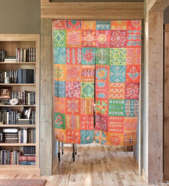 Creative Color Painting Prints Door Curtains Cotton Linen Lattice Pattern Room Partition Divider Home Decoration