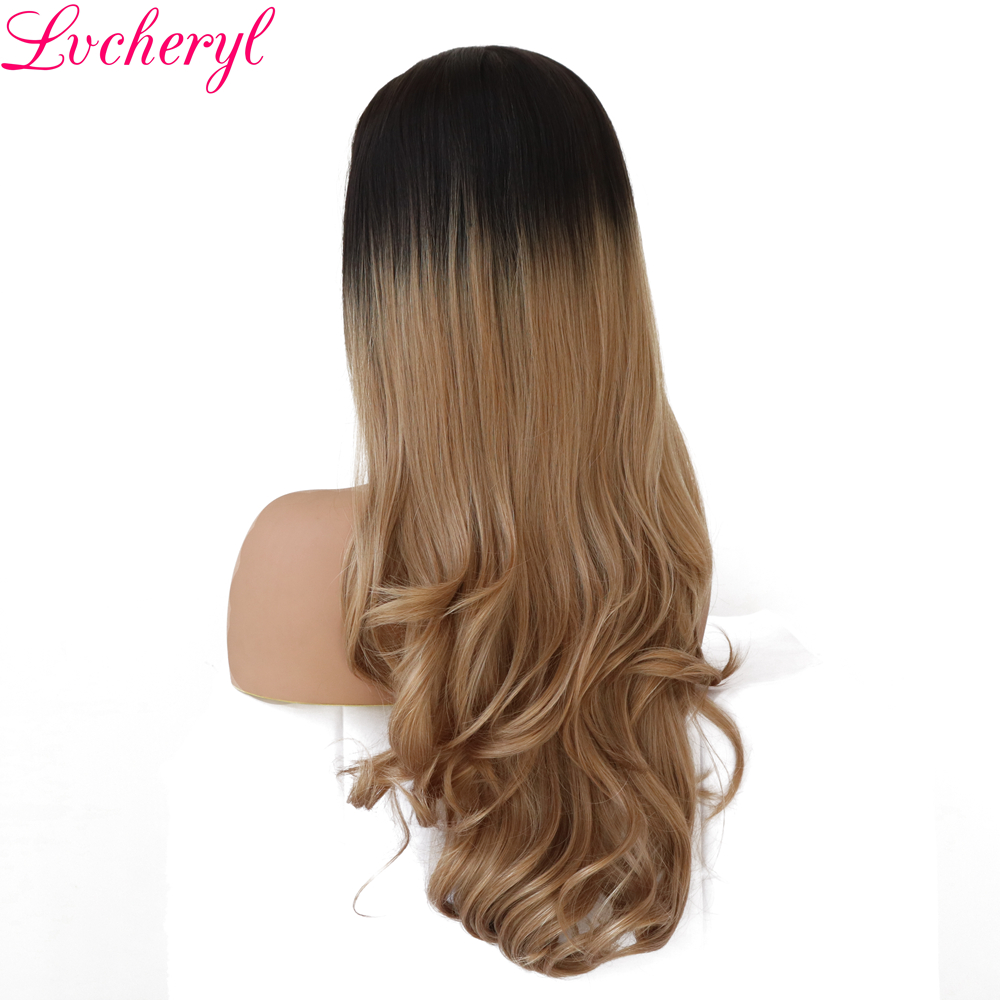Lvcheryl Hand Tied Dark Roots Ombre Blonde Natural Wavy Lace Front Wig Glueless Synthetic Heat Resistant Fiber Hair Women Wigs