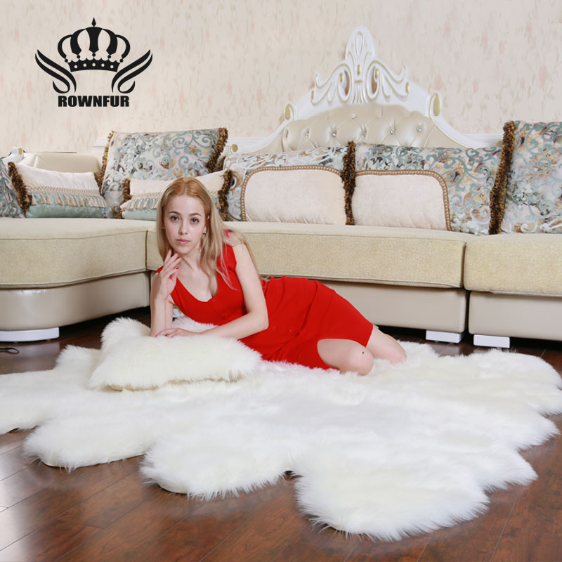 ROWNFUR  Soft Artificial Sheepskin Carpet For Living Kids Room Bedroom Fluffy Large Area Rug Anti-slip Floor Mats Home 5 Colors