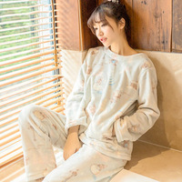 Autumn And Winter Thickening Flannel Long Sleeve Pullover Lounge Set Sleepwear Coral Fleece Winter Women