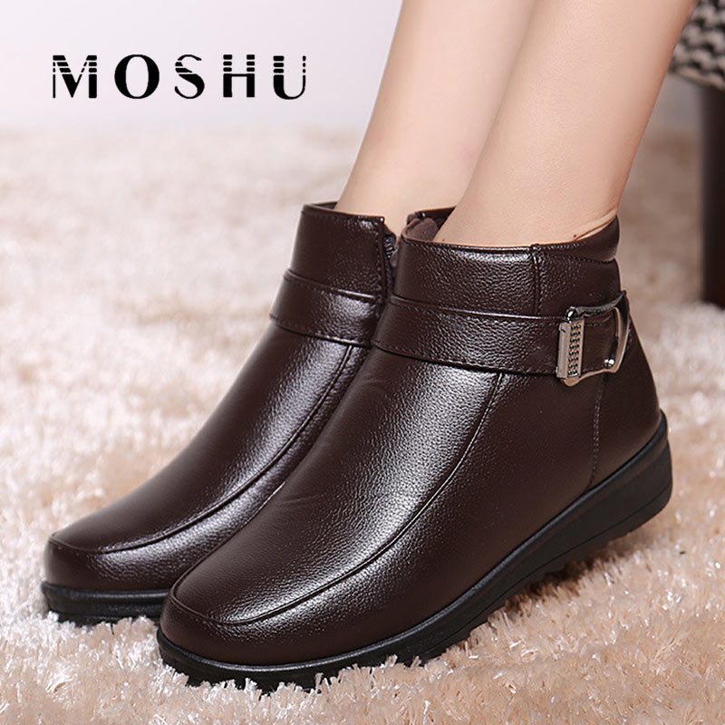 Warm Plush Women Winter Boots Female Fur Heels Ankle Wedges Snow Boots Ladies Platform Shoes waterproof Zip zorssar 2017 new classic winter plush women boots suede ankle snow boots female warm fur women shoes wedges platform boots