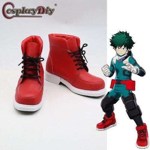 Cosplaydiy anime boku nenhum herói academia sapatos izuku midoriya cosplay sapatos de fantasia meu herói academia botas vermelhas