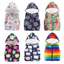 Дешевые осенне-зимние теплые детские жилеты для мальчиков с рисунком радуги, куртка динозавр без рукавов, куртки с капюшоном, пальто для маленьких мальчиков