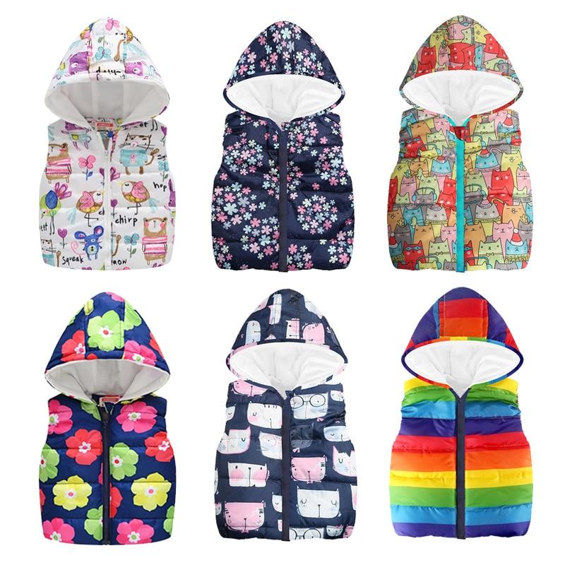 Cheaper Autumn Winter Warm Kids Vests For Boys Cartoon Rainbow Dinosaur Outerwear Sleeveless Hooded Jackets Gilet Baby Boy Coats