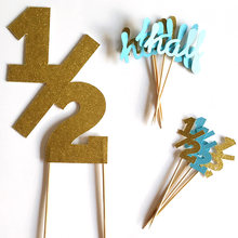 Gold/Silver/Black Glitter 1/2 Birthday Cake Topper & Half Birthday Cupcake Toppers 6 Month Party Favors Decorations Food Picks(China)