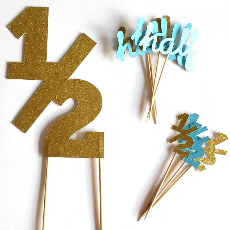 Gold Silver Black Glitter 1 2 Birthday Cake Topper Half Birthday Cupcake Toppers 6 Month Party Favors Decorations Food Picks Party Favors Glitter Blackglitter Glitter Aliexpress