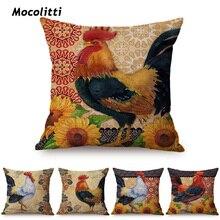 Funda de almohada de decoración de pintura al óleo de gallo de lujo de la vendimia funda de cojín de sofá cuadrado de lino de diseño de cartel de granja Nórdica