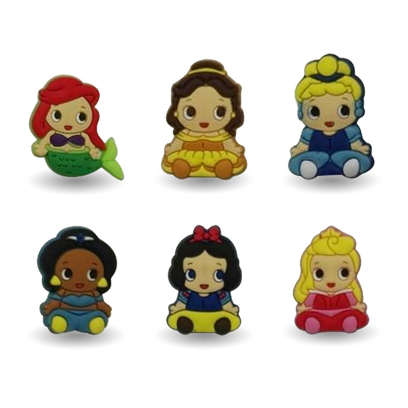 1-6pcs Princess  Cartoon Pins badges Brooches Collection DIY Charms Fit Hat Clothes Bags Shoes  Decoration X-mas Party Gift new 1pcs single the secret life of pet decoration pvc pins badges brooches collection diy charms fit clothes bags shoes kid gift