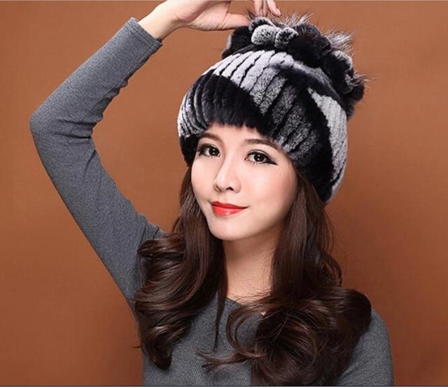 Winter-grade female children's leather hat Millinery winter Rex rabbit hair tassels Fur fashion casual lady winter hat