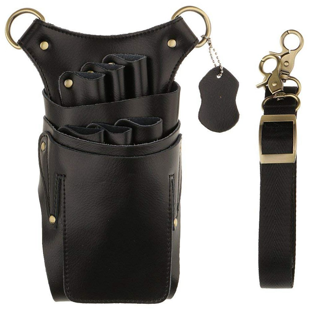 Genuine Leather Bag Case With Adjustable Strap Belt For Storing Hairdressing Tools Scissors Clips Holster Combs High Capacity