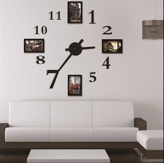 cadre photo horloge murale design moderne num rique grand sticker mural d coratif horloge. Black Bedroom Furniture Sets. Home Design Ideas