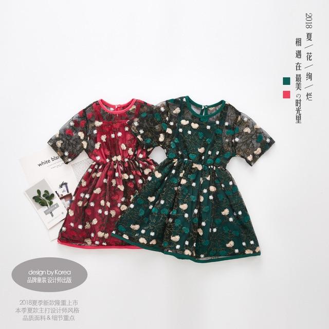 Princess Party Dress Girls Summer Dresses 2018 Brand Mesh Clothes Kids Costumes Embroidery Flower Dress Children Drop Shipping