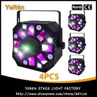 (4 pieces/lot) 3in1 Colorful Laser Strobe Moonflower RG Moving Laser Effect DJ Light 8 White LEDs ADJ Stage Light